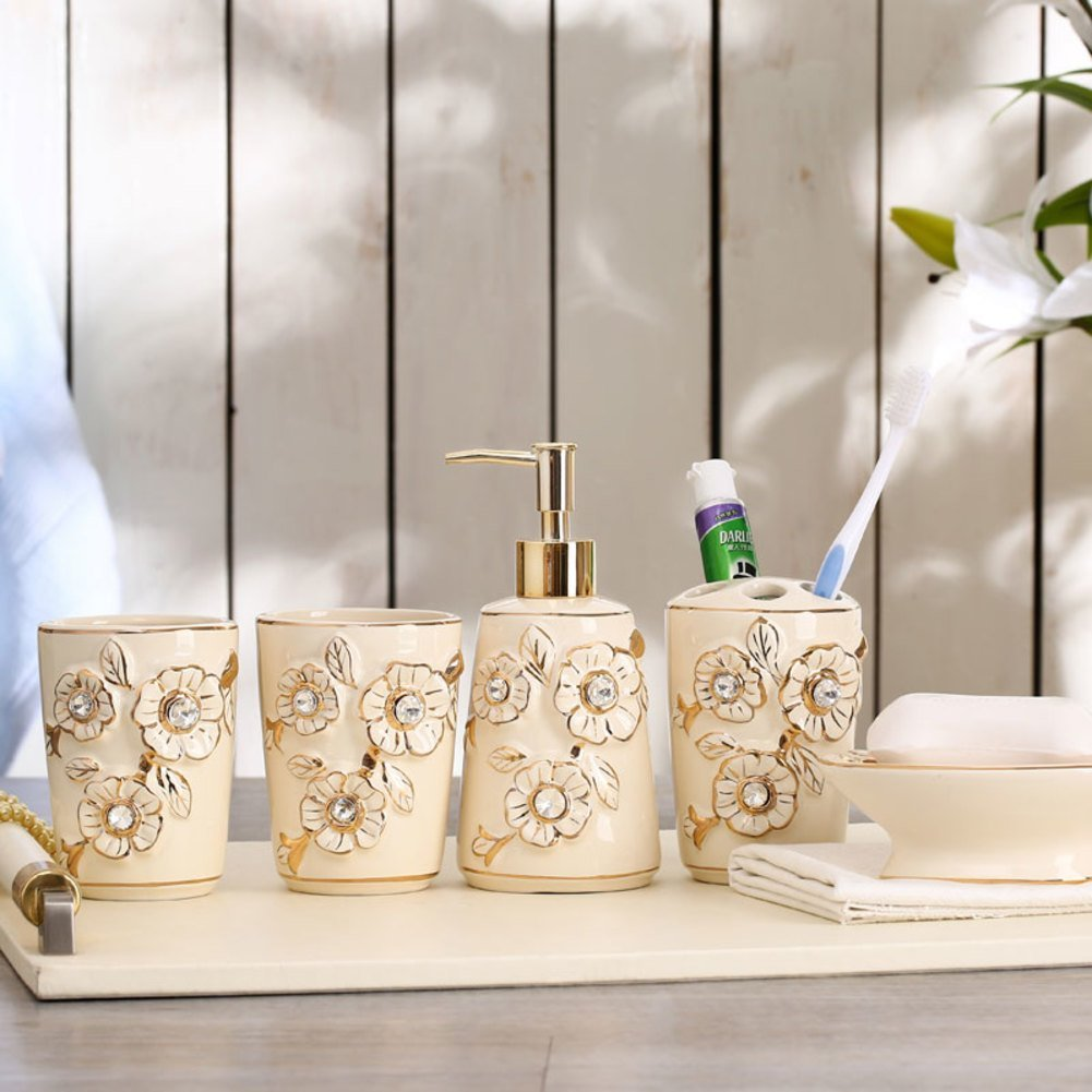 Bathroom wash suit/ bathroom five-piece/European ceramic toothbrush holder sets mouthwash