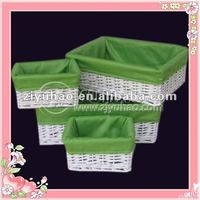 Set/4 White Wicker Storage Basket With Fabric Green Liners
