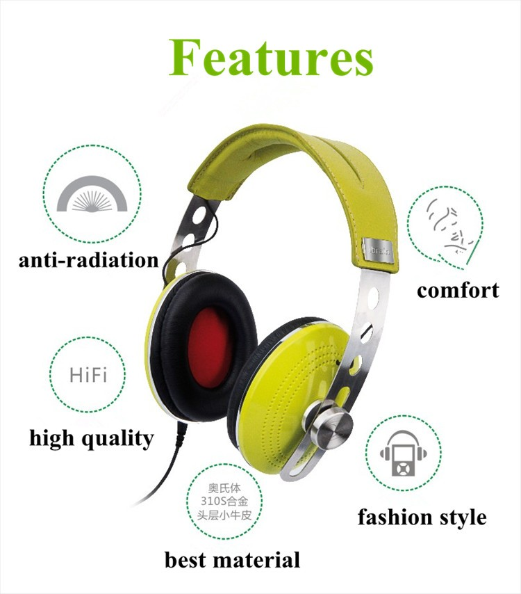 Top leather material best sound quality 3.5mm anti EMF & RF radiation to 99.99% air tube earphone & headphone