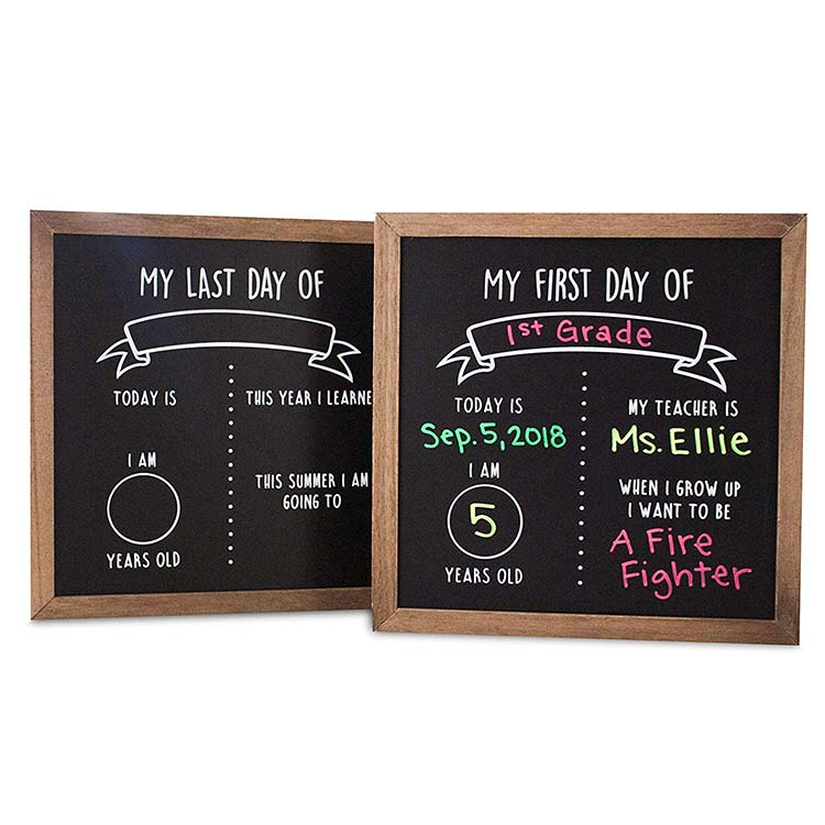 First and Last Day of School Reusable Chalkboard ป้าย Reversible ไม้ Chalkboard กรอบ | Back to School Photo Prop Board คู่