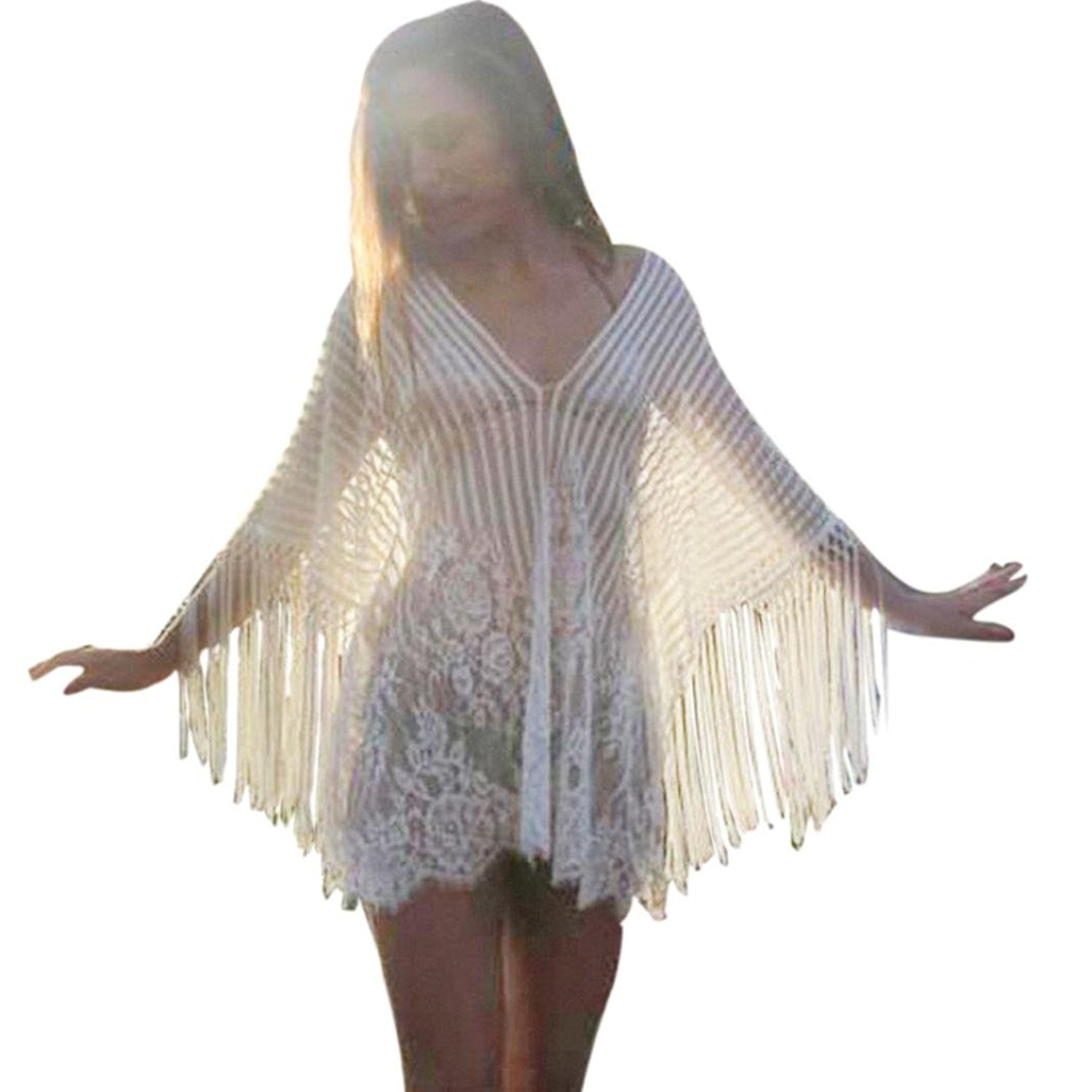 Sumen Women Sexy Tassel Lace Loose Swimsuit Cover Up Transparent Beach Sunscreen Tunic Tops