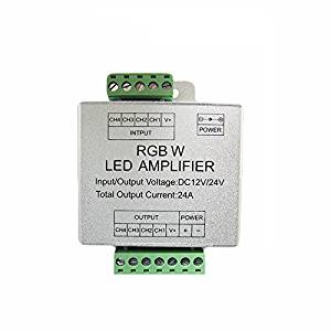Firstsd DC12V-24V LED Data Repeater 4CH Channel RGBW Amplifier Circuit Aluminum Shell For Color RGB RGBW LED Light Strip (RGBW-24A)