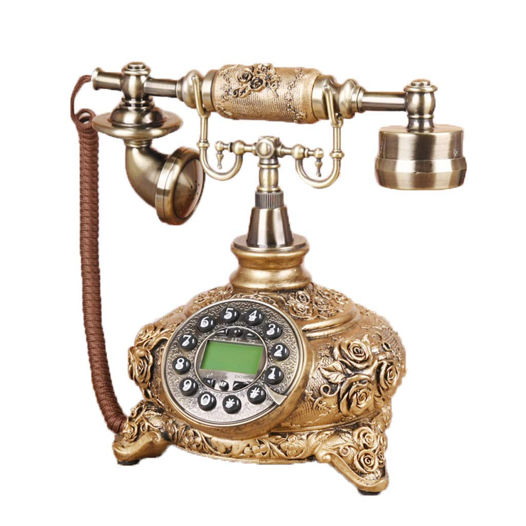 European Style Living Room Retro Fixed Telephone Engraving Rose Home Decorations Ornaments Craft Wedding Gift Bedroom Living Room Cafe Landline