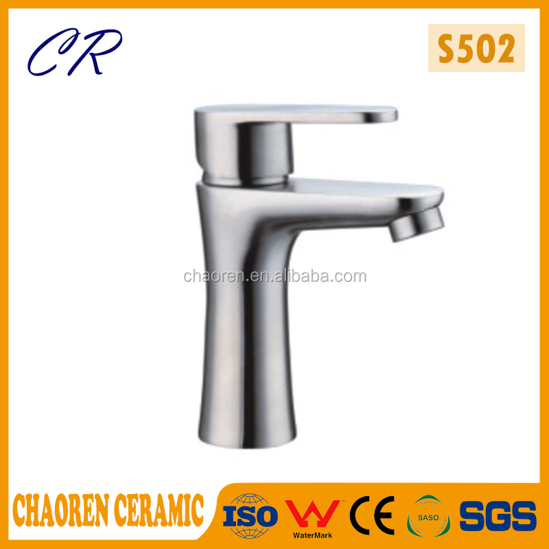 Deck mounted 304 stainless steel faucet brass material bathroom basin faucet