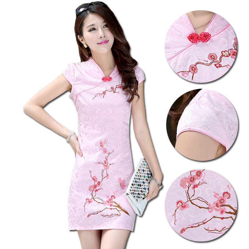 dd9e5dd7e Get Quotations · Wholesale New Chinese traditional dress Women's Cotton  Spandex Embroider Mini Cheongsam Qipao Dress Size M L XL