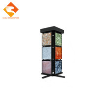 Rotary display rack for ceramic tile and stone mosaic