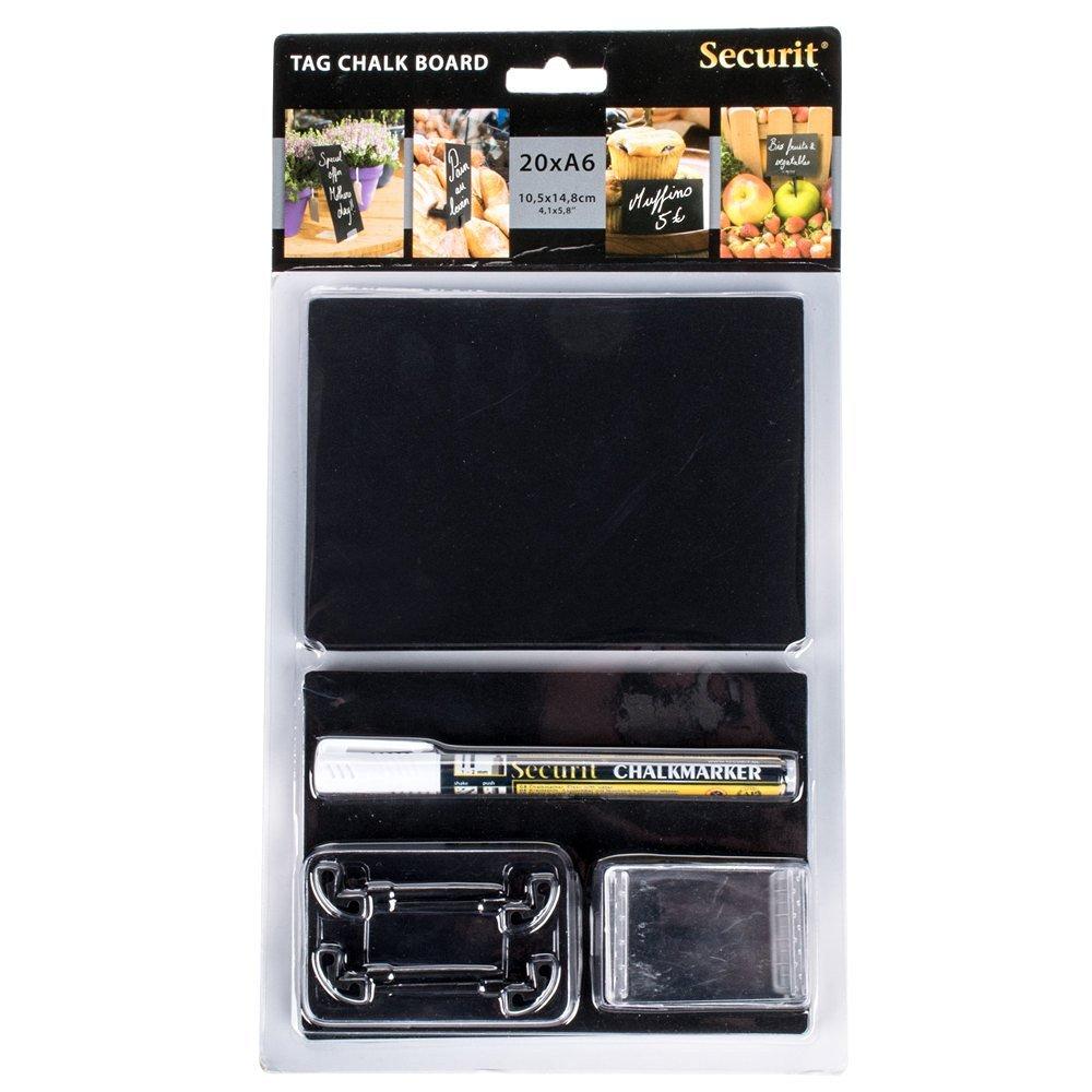 "American Metalcraft TAGA6WT 6"" x 4"" Mini Chalk Cards and Marker Display Kit - 20/Pack"