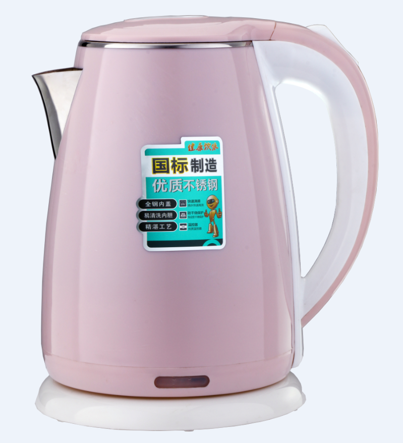 Double layer cool touch plastic stainless steel cordless 110V 220V electric water kettle