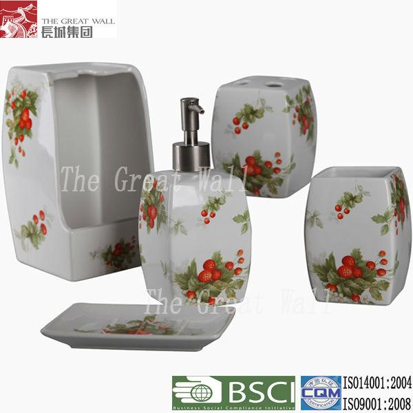 5 unids chino cuarto de ba o accesorios de cer mica sets for Accesorios de bano de ceramica