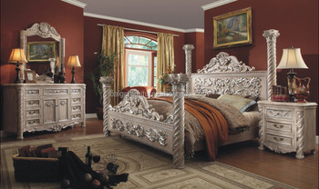 F-8008B 2015 new luxury design bedroom furniture king four poster bed