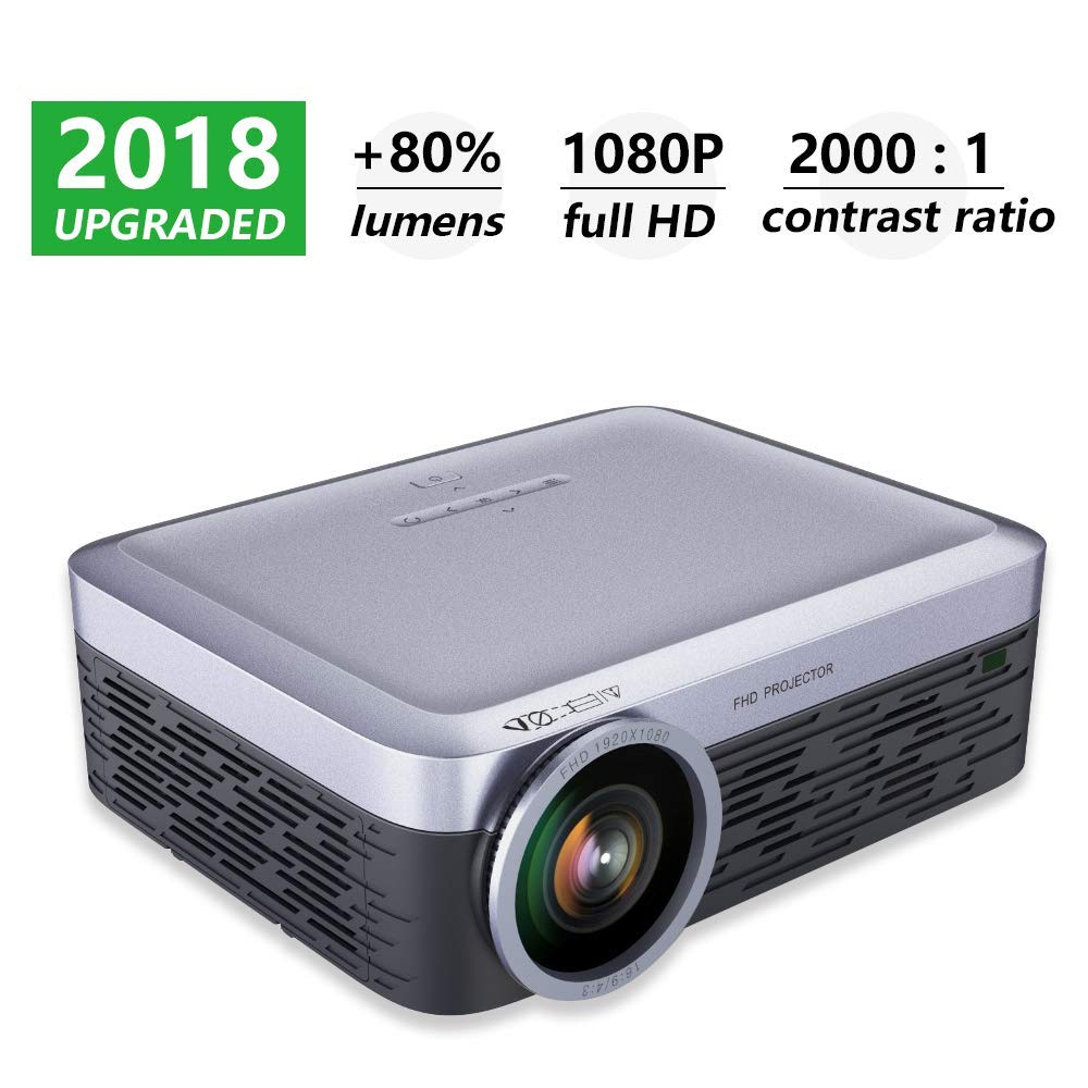 Get Quotations · Native1080P LCD Projector, Full HD Support 4k Video Film  Movie Playing,Portable Lcd Led
