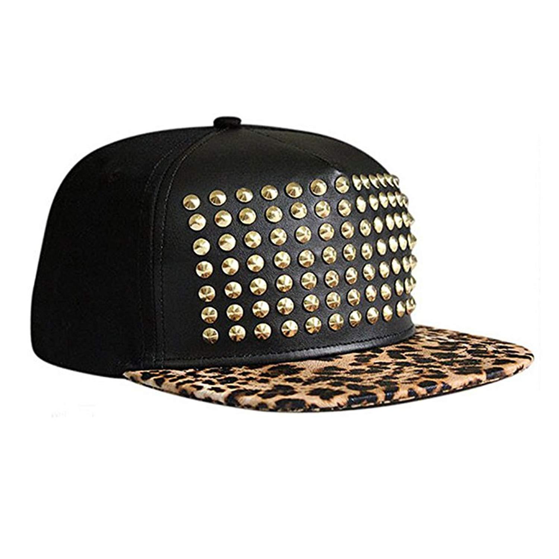 Get Quotations · Unisex Rivet Hat Punk Studded Flat Baseball Hip-hop Hat  Spiky Stud Cap cecfe55ef51c