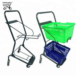 Japanese boutique shop cart supermarket double baskets two layers trolley cart