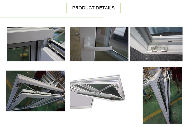 AWA and WERS Certified Double Glass Plastic UPVC Tilt And Turn Windows With Roto Hardware