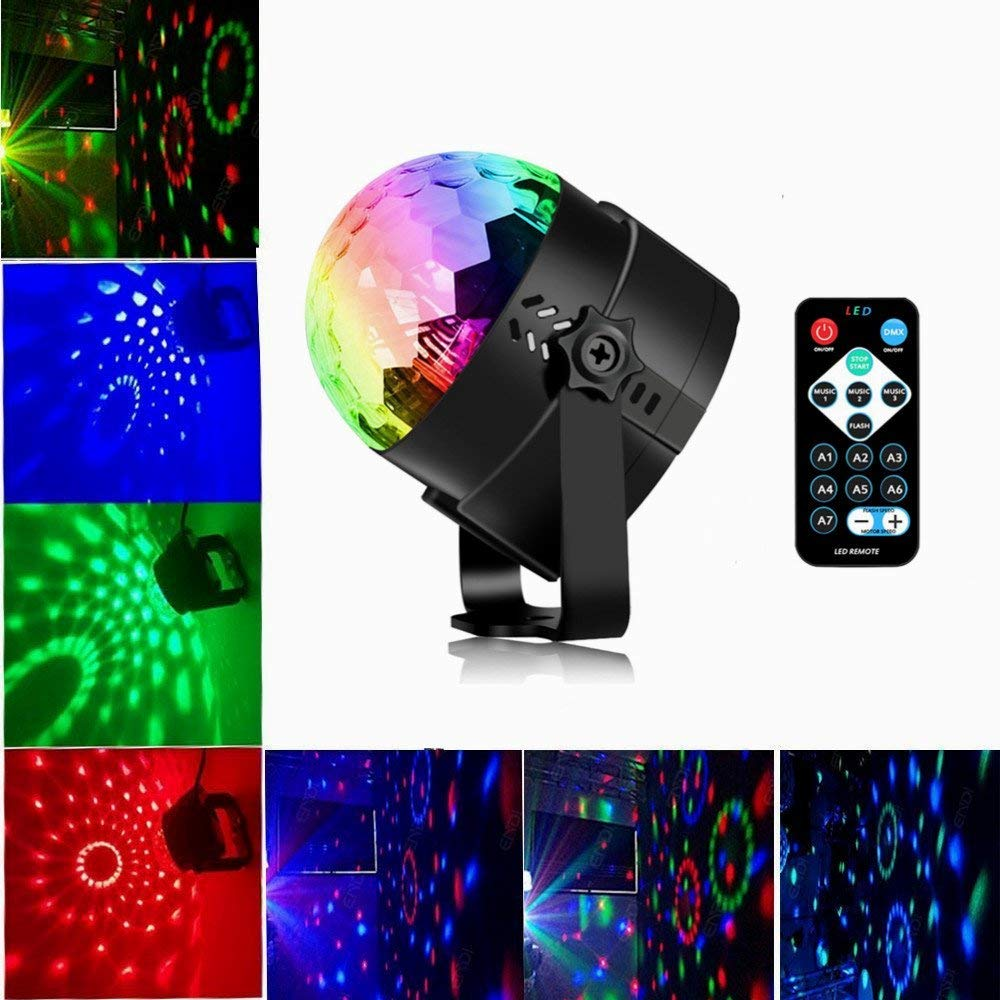 Zmlin RGB LED Disco Ball Lights 3w Party Lights LED Stage Light Sound Activated Dance Light Stage Light for Festival Bar Club Party KTV Birthday Night Light