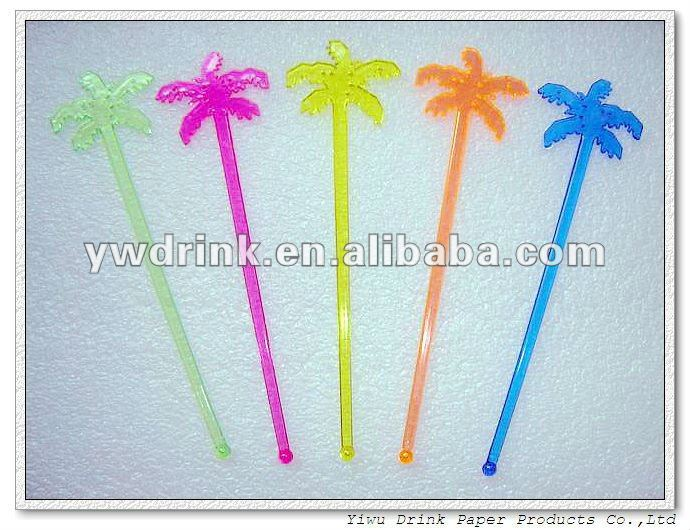 Non-flammable Clear Friendly Plastic Coconut Tree Stirrer Stick(18cm)