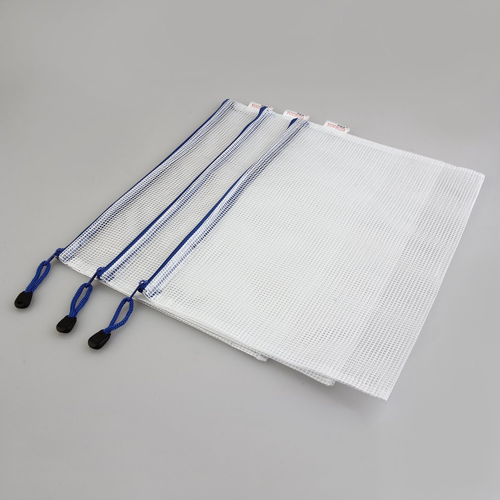 Top-Spring Portable A4 5/10 pcs/Pack Pen File Clear Grid Lines Folder Waterproof Zip Bag