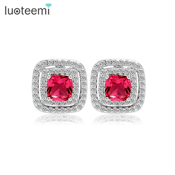 LUOTEEMI 2015 New Arrival Women Fashion Online Shopping White Gold Jewellery CZ Micro Pave Halo Design wholesale Stud Earrings