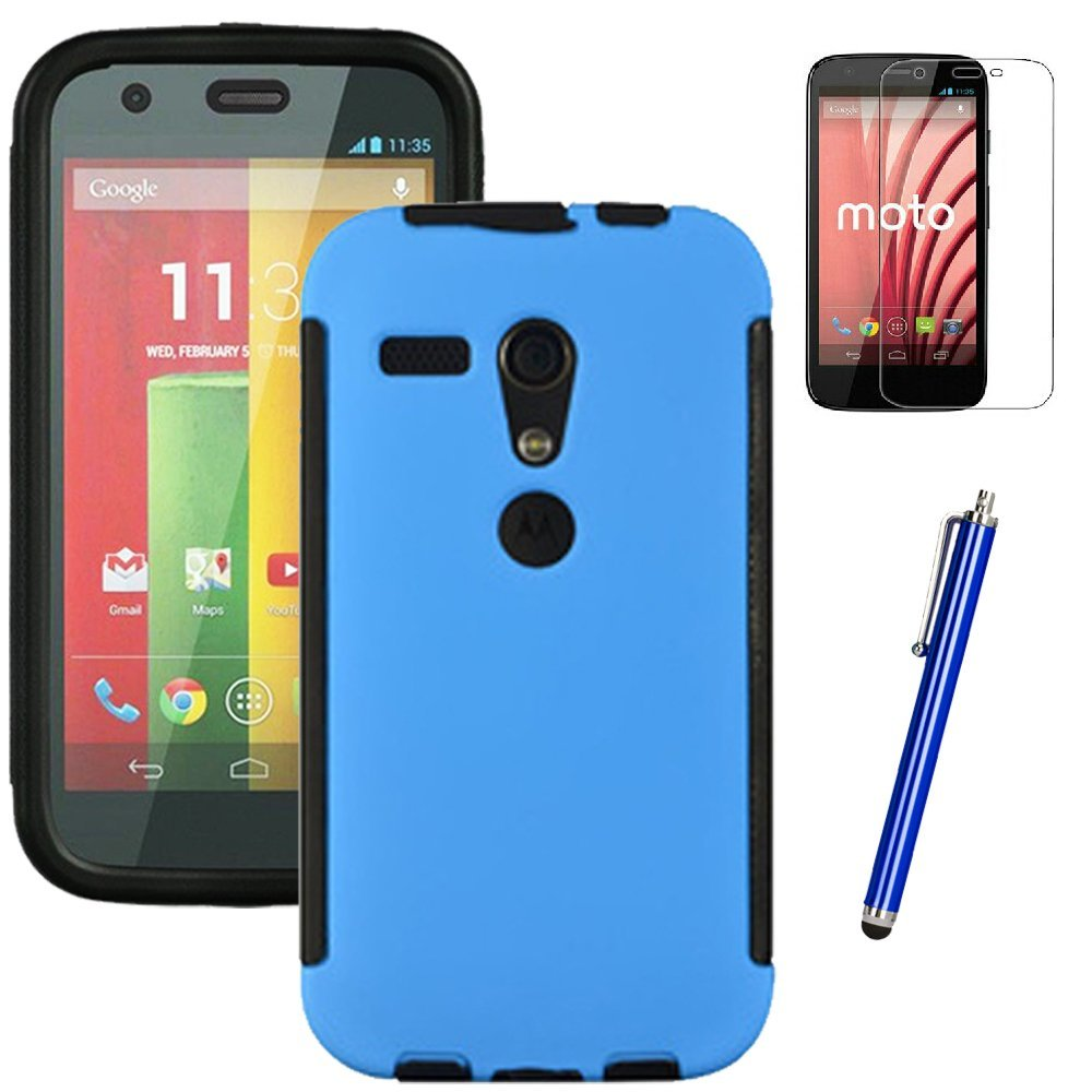 MOTO G case, EC™ Durable Full Body Protection Hybrid Case with Built-In Screen Protector for Motorola MOTO G (1st Generation Only) + Stylus Pen (Blue)