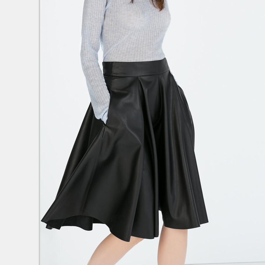 7bdc44a7d6bf4 Get Quotations · Manu New Fashion plus size Ladies  elegant faux leather pleated  midi skirts pockets Skirt casual