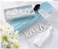 Hugs & Kisses X O Brushed Metal Bookmark Bridal Shower Favors