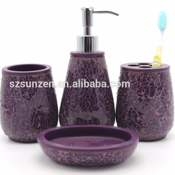 4 Pieces Purple Glass Mosaic Poly Resin Bathroom Accessory Set Soap