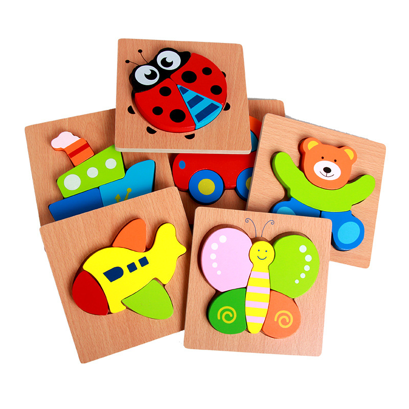 Wooden Animals Primary Chunky Jigsaw Puzzles- Easy Grasp Toy for Toddlers: Owl.Turtle.Ladybug.Starfish