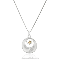 Two-Tone Silver and Yellow Gold Moon and Star Inspirational Pendant Necklace