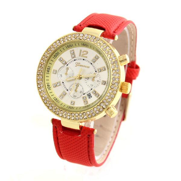 relogio feminino relojesquartz watch GENEVA Women Rhinestone Watches Crystal Wristwatches PU Strap Alloy Gold Case Dial XYY74