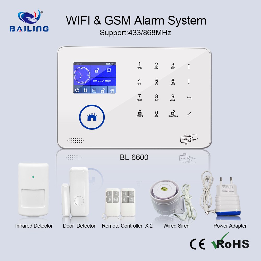 Supply the customzation and best sale service intelligent control WIFI GSM wireless home alarm security system