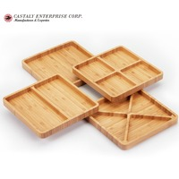 Natural Material Restaurant Tools Set of 4 Bamboo Rectangle Serving Plates