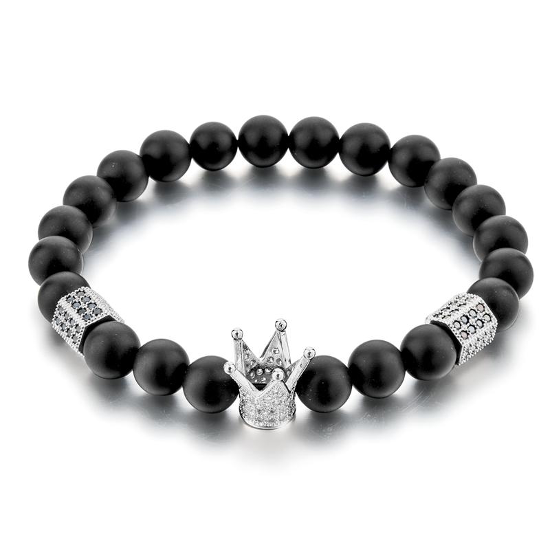 Groothandel Zwarte Onyx Kralen Armband Met Stretch Crown Charm 18K Gold Mannen Armband