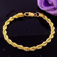 Alibaba Top Selling Products Eco-friendly Copper Metal Gold Twist Chain Bracelets Wholesale Fashion Men Jewelry K003