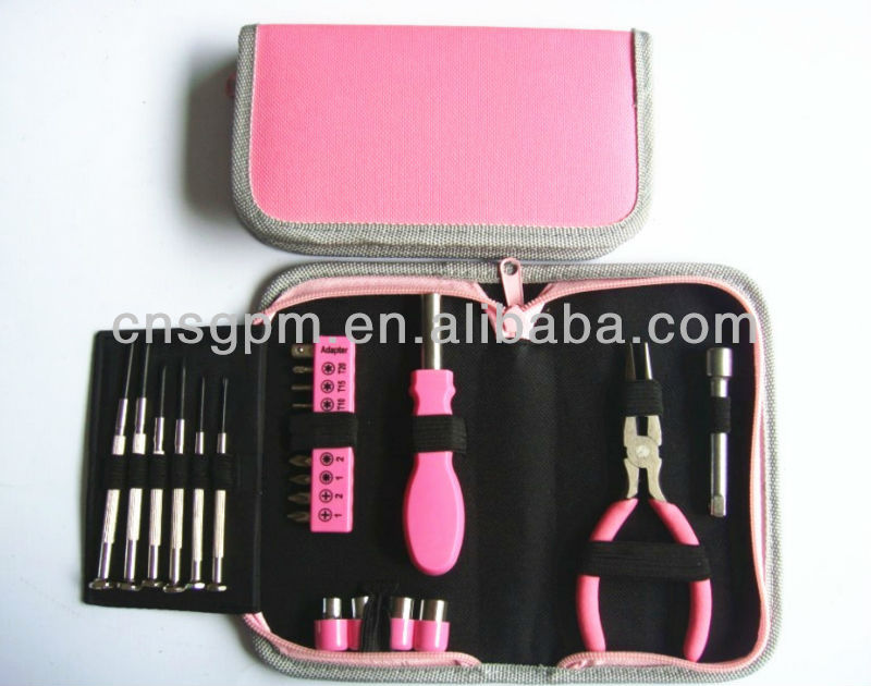 23pcs mini pink lady household tool kit with tool bag