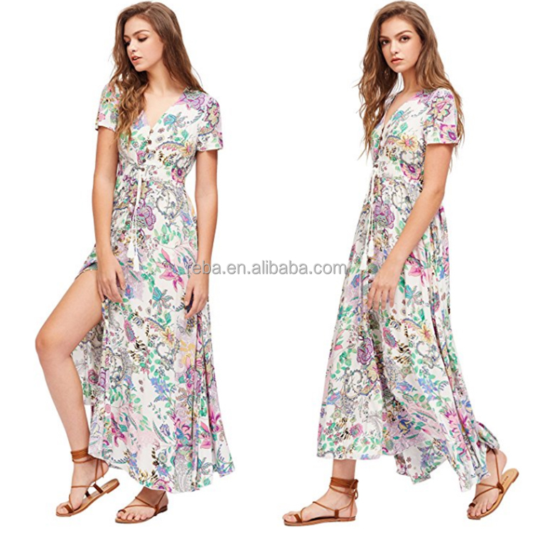 Summer holiday Women Sexy Split Floral Printed Dress Short Sleeve V-Neck Vestidos wholesale Custom personalized design Maxi