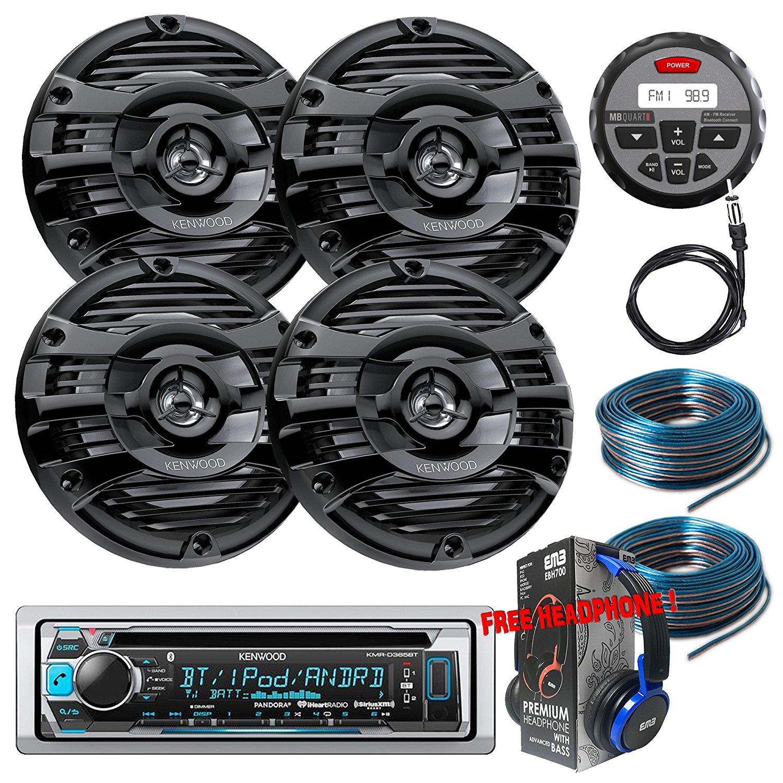 Package Kenwwod KMR-D365BT Bluetooth Marine CD Receiver + 2 Pairs KFC-1653MRB Marine Stereo Speaker + GMR-1 + Antenna + 2x 100FT Installation Wires + Free EMB Headphone For ATV UTV Boat Yatch