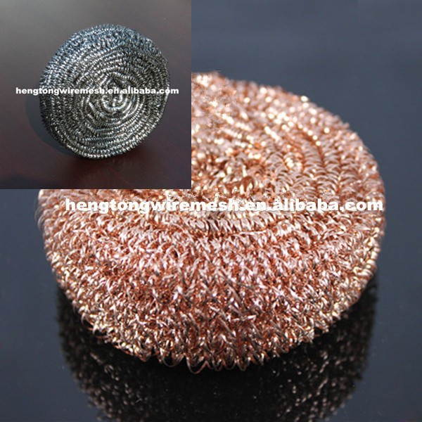 100% Copper Scouring Pads/Copper Scrubber/Pot scourer/ stainless steel ball clean