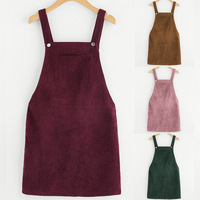 Women Retro Corduroy Dress Autumn Spring Suspender Sundress Sarafan Loose Vest Overall Dress Female Natural Casual Dresses
