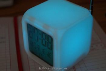 Wekker Met Licht : Led 7 kleur veranderende digitale wekker thermometer lcd radio datum