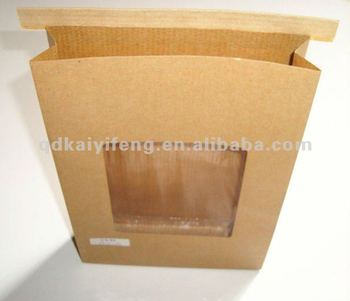 Gloss Laminated Kraft Paper Food Bags With Clear Window Grade Brown Bag Resealable