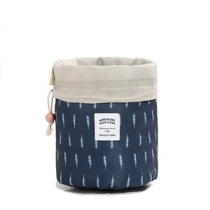 Printing Ladies Drawstring Barrel Cosmetic Makeup Round Toiletry Bag