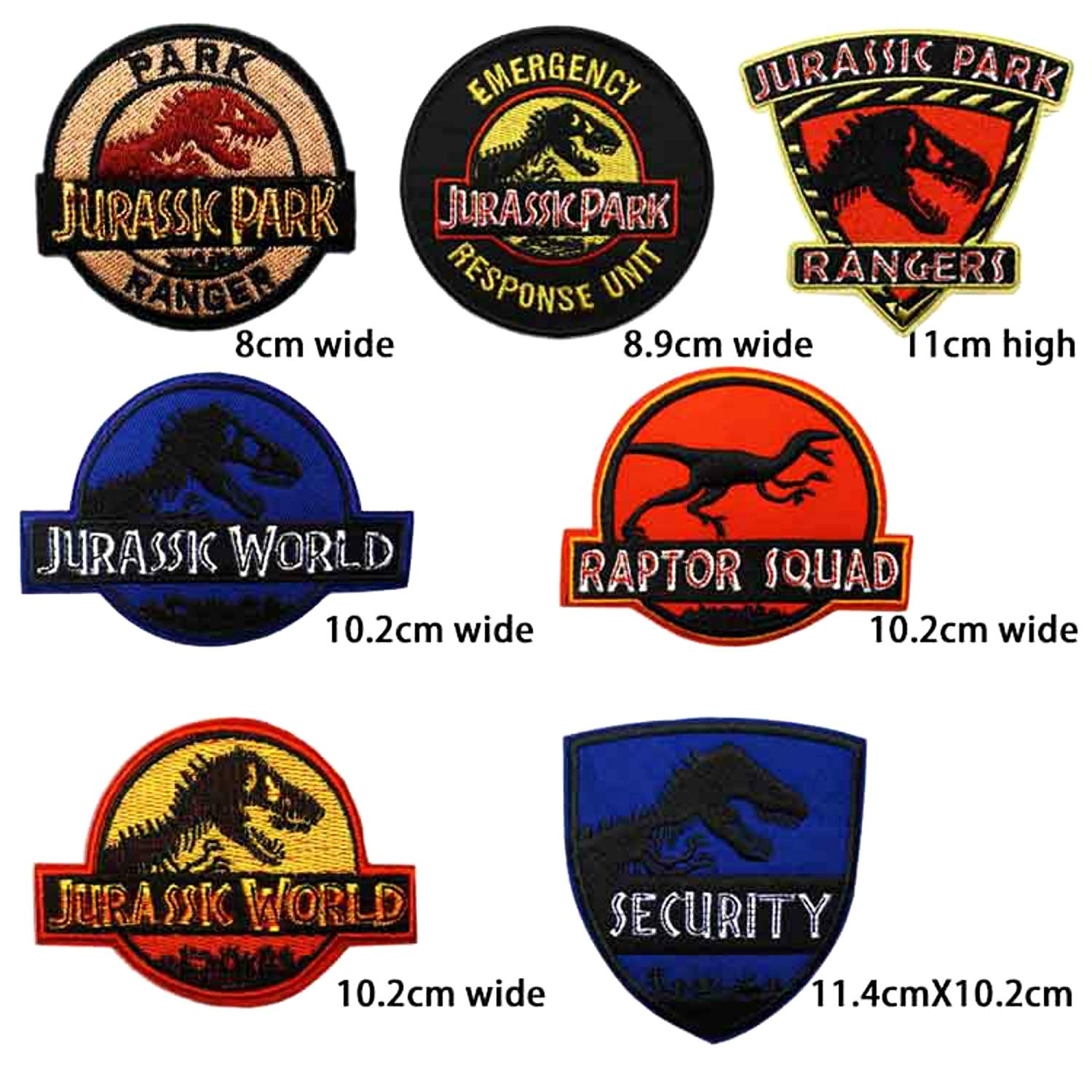 Jurassic Park Patches Embroidered Badge Sew//Iron on