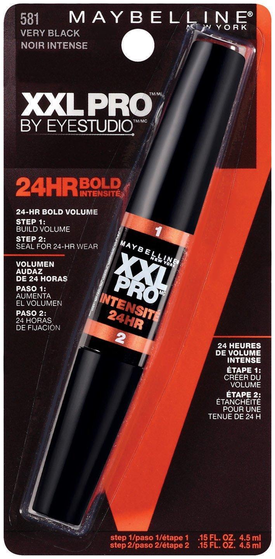 7b41cb534e1 Get Quotations · Maybelline New York XXL 24Hr Bold Mascara, Very Black 581,  0.3 Fluid Ounce