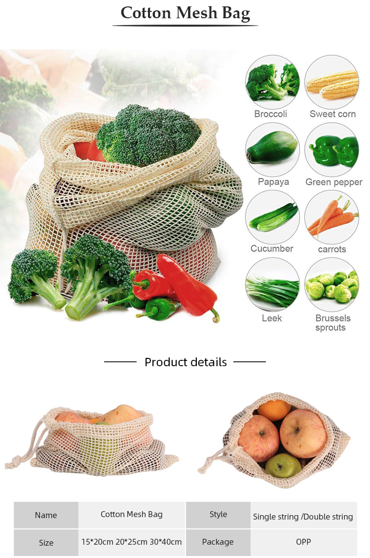 Ginzeal Reusable Produce Organic Fruit Cotton Mesh Bag
