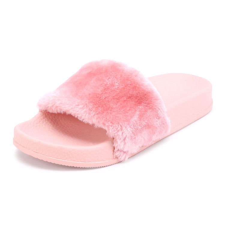 Pink Classic Summer Flat Faux Fur