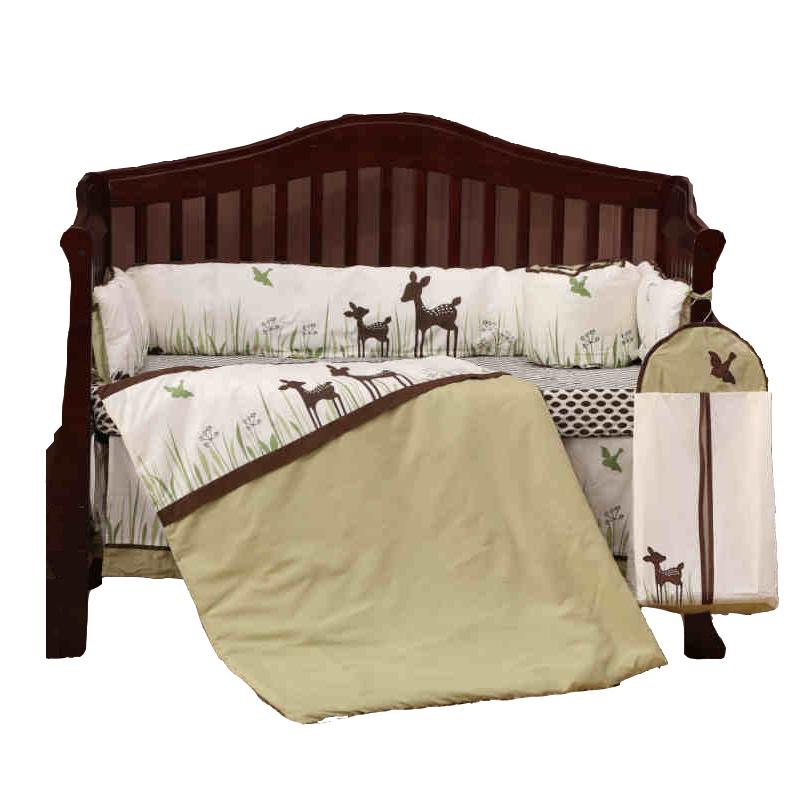8Pcs Organic Cotton Crib Bedding Set Cartoon Deer Newborn Baby Bedding With Quilt Bumpers Fitted Sheet