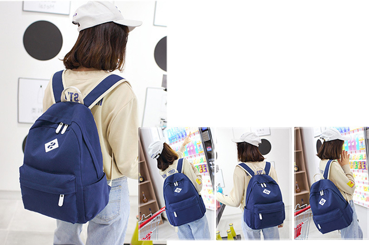 Pure color canvas mochilas School backpack Bags for Teenage Girls and boys