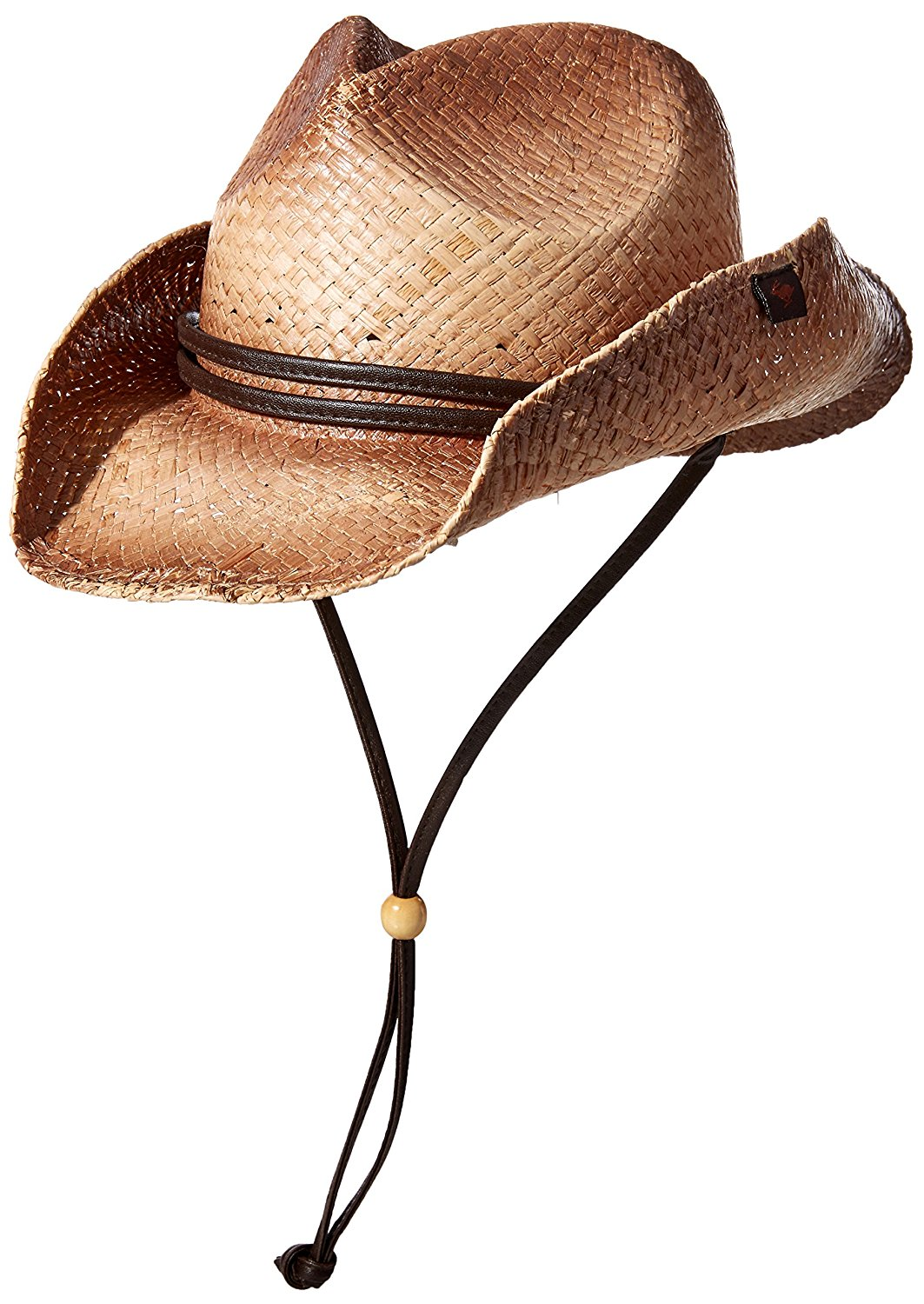 9ade24e036c93 Get Quotations · Peter Grimm Straw Round up Cowboy Hat w Leather Strap (Tea  Stained)