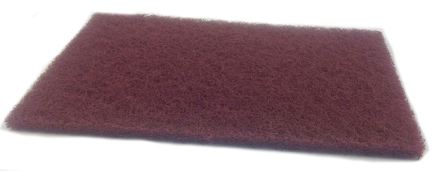 "Sungold Abrasives 7447 Sun-Brite Maroon General Purpose Handpads (20/Box), 6"" x 9"""