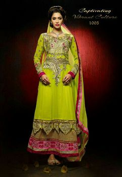 Catalogue design Anarkali Dress Designer Wedding Salwar Kameez Indian Bridal Yellow Color Party wear Anarkali Dress